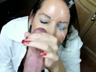 Cute Russian girl makes big cock cum on her face